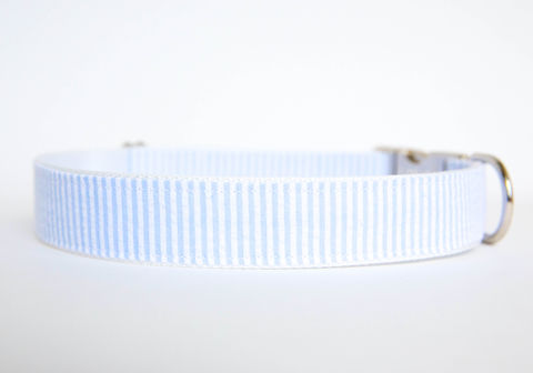 Seersucker,Dog,Collar,-,Light,Blue,seersucker dog collar, dog collar, southern dog collar, light blue, seersucker