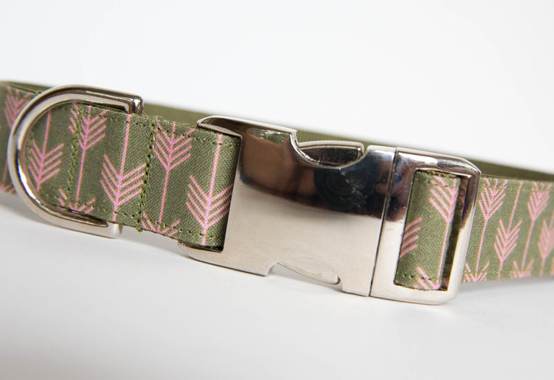 Camp Dog Collar - Olive/Pink - product images  of