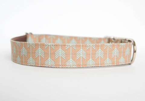Camp,Dog,Collar,-,Tan/Aqua,dog collar, arrow, arrows, camp dog collar, military dog collar, nickel hardware, tan, aqua