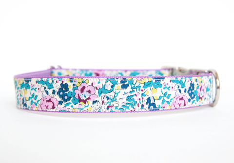 Liberty,of,London,Dog,Collar,-,Turquoise,&,Lavender,Floral,liberty of london dog collar, dog collar, southern dog collar, floral dog collar, turquoise, lavender
