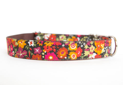 Liberty,of,London,Dog,Collar,-,Autumn,Floral,liberty of london dog collar, dog collar, southern dog collar, floral dog collar, orange, brown, fall dog collar