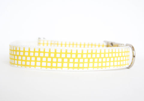 Happy,Racquet,Dog,Collar,in,Citron,plaid dog collar, dog collar, southern dog collar, check dog collar, yellow
