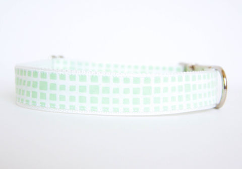 Happy,Racquet,Dog,Collar,in,Seafoam,plaid dog collar, dog collar, southern dog collar, check dog collar, mint, sea foam