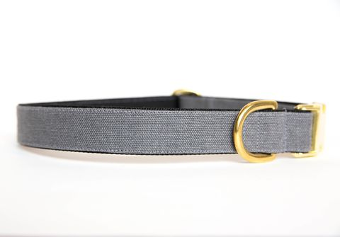 Washed,Linen,Dog,Collar,-,Grey,linen dog collar, dog collar, wedding dog collar, gold hardware, brass hardware, grey dog collar