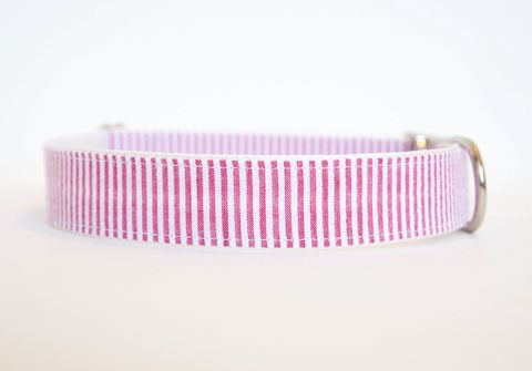 Seersucker,Dog,Collar,-,Red,seersucker dog collar, dog collar, southern dog collar, striped dog collar, red
