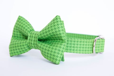 Dog,Bow,Tie,Collar,-,Green,Houndstooth,dog collar, dog bow tie, dog bowtie, bow tie dog collar, bowtie dog collar, wedding dog collar, green, houndstooth