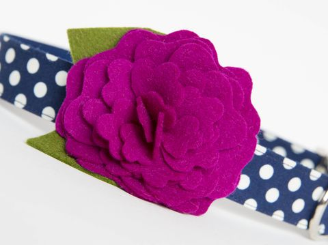Flower,Dog,Collar,-,Plum,Polka,Dots,wedding dog collar, fancy dog collar, unique, dog collar, flower, flower dog collar, dog collar flower, flower for dog collar, felt flower, fall dog collar, plum, navy