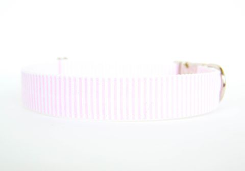 Pale,Pink,Seersucker,Dog,Collar,valentine's day dog collar, valentine dog collar, pale pink, seersucker dog collar, dog collar, southern dog collar, blue dog collar, nickel hardware, silver hardware