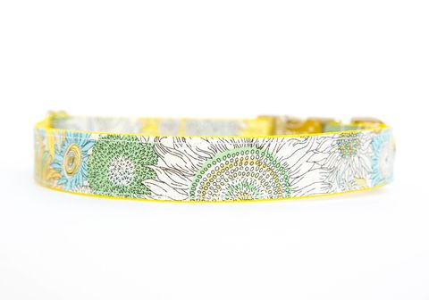 Liberty,of,London,Dog,Collar,-,Yellow,&,Mint,Floral,liberty of london dog collar, dog collar, southern dog collar, floral dog collar, pink, red