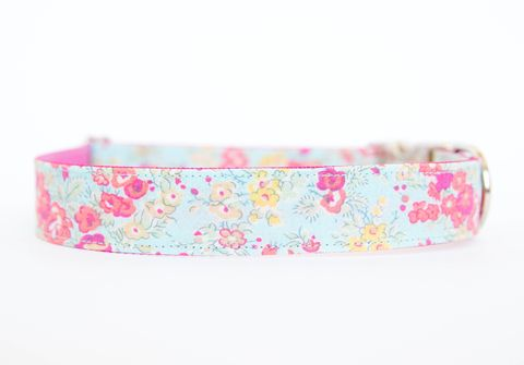 Liberty,of,London,Dog,Collar,-,Faded,Turquoise,Floral,liberty of london dog collar, dog collar, southern dog collar, floral dog collar, pink, red