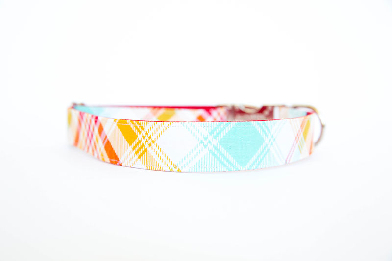 Summer Plaid Bow Tie Dog Collar - Red & Turquoise - product images  of