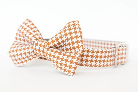 Bowtie,Dog,Collar,-,Saddle,Brown,Houndstooth,dog collar, dog bow tie, dog bowtie, bow tie dog collar, bowtie dog collar, fall dog bow tie, brown, houndstooth