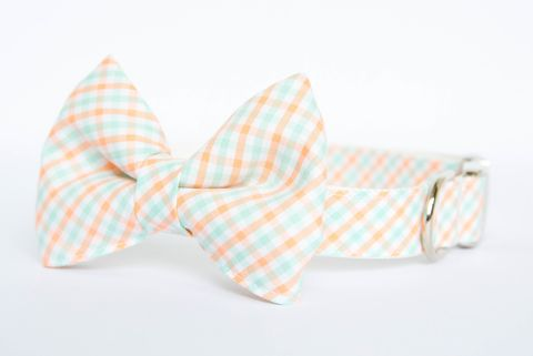 Dog,Bow,Tie,Collar,-,Peach,and,Mint,Check,dog collar, dog bow tie, dog bowtie, bow tie dog collar, bowtie dog collar, peach, mint, plaid, check, gingham