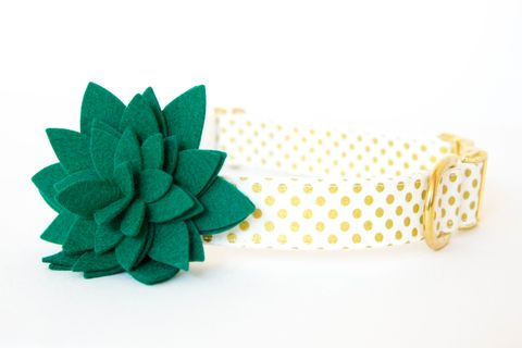 Flower,Dog,Collar,-,Emerald,Blossom,on,Gold,Polka,Dots,flower dog collar, dog collar flower, flower for dog collar, felt flower, wedding dog collar, fancy dog collar, christmas dog collar, holiday dog collar, emerald, metallic, gold