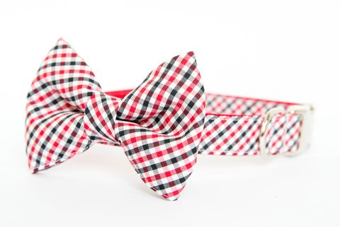 Red,and,Black,Gingham,Bowtie,Dog,Collar,dog collar, dog bow tie, dog bowtie, bow tie dog collar, bowtie dog collar, gingham, sec dog collar, acc dog collar, uga dog collar, georgia bulldogs dog collar, nc state wolfpack, red, black