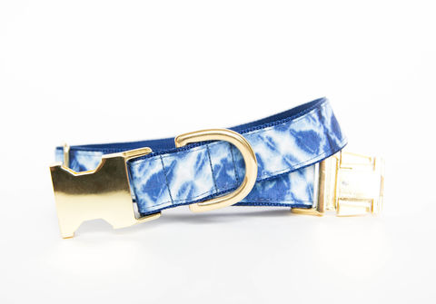 Geometric,Indigo,Batik,Dog,Collar,gold dog collar, batik dog collar, indigo, shibori dog collar, blue dog collar, batik, navy dog collar, gold hardware, brass hardware