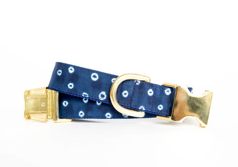 Polka,Dot,Indigo,Batik,Dog,Collar,gold dog collar, batik dog collar, indigo, shibori dog collar, blue dog collar, batik, navy dog collar, gold hardware, brass hardware, polka dots, polka dot dog collar