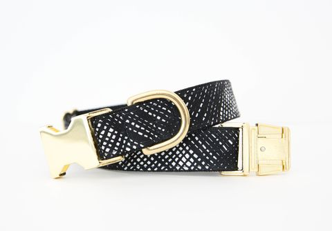 Black,and,White,Basketweave,Dog,Collar,gold dog collar, black and white, black and white dog collar, basketweave dog collar, designer dog collar, gold hardware, black and gold