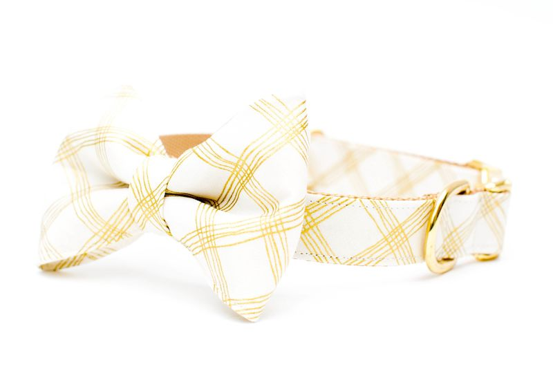 Ivory and Gold Plaid Bow Tie Dog Collar - product images  of