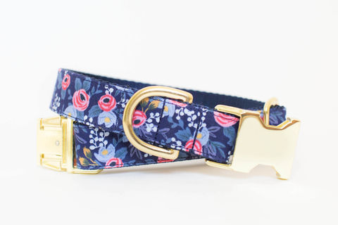 Les,Fleurs,Rosa,Flora,Dog,Collar,in,Navy,gold dog collar, periwinkle dog collar, blue and gold dog collar, metallic gold, rifle paper co, rifle paper dog collar, navy dog collar