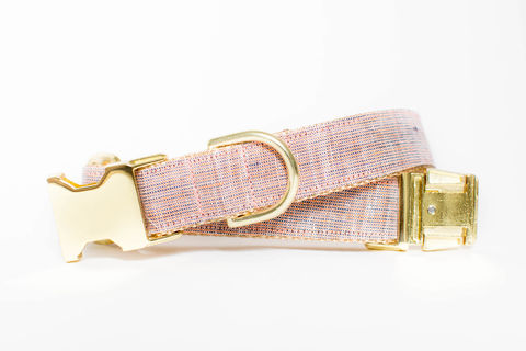 Watercolor,Linen,Dog,Collar,in,Autumn,Rose,gold dog collar, fall dog collar, blush and gold dog collar, metallic gold, linen dog collar, coral dog collar, gold dog collar, rustic linen