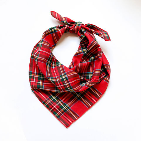 Holiday,Tartan,Dog,Bandana,dog bandana, christmas bandana, holiday bandana, red plaid bandana, tartan bandana