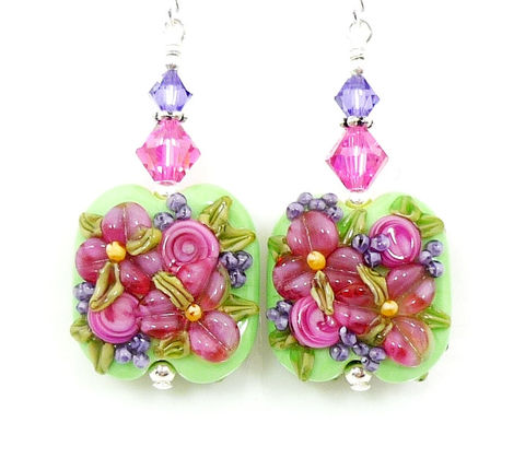 Fuchsia,Pink,Floral,Lampwork,Glass,Earrings,Handmade Earrings, Handmade Jewelry, Lampwork Jewelry, Mother's Day Jewelry, Beadz and More, Beadwork Earrings, Glass Earrings, Glass Bead Earrings, Lampwork Earrings, Floral Earrings, Pink Flower Earrings, Pink and Green Earrings