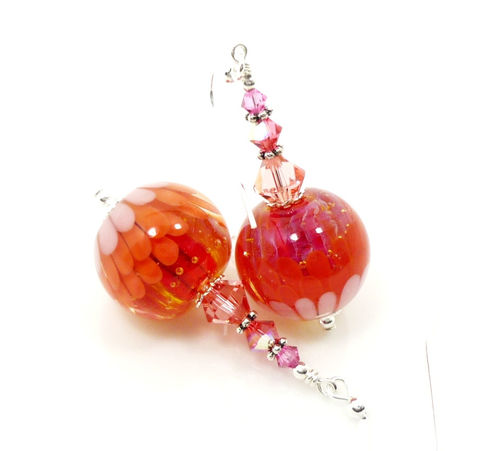 Pink,and,Orange,Chrysanthemum,Flower,Lampwork,Earrings,Handmade Lampwork Earrings, Lampwork Glass Earrings, Lampwork Glass Bead Earrings, Lampwork Earrings, Chrysanthemum Flower Earrings, Glass Flower Earrings, Pink and Orange Earrings