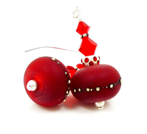 Red,Lampwork,Christmas,Earrings,Handmade Earrings, Handmade Jewelry, Handcrafted Jewelry, Lampwork Jewelry, Sterling Silver Earrings, Beadz and More, Beadwork Earrings, Glass Earrings, Glass Bead Earrings, Lampwork Earrings, Red Earrings, Christmas Earrings, Christmas Jewelry