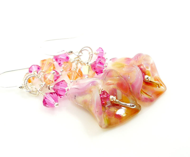 Pink and Peach Calla Lily Lampwork Crystal Cluster Earrings - product images  of