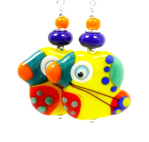 Colorful,Yellow,Parrot,Lampwork,Earrings,Handmade Earrings, Handmade Jewelry, Lampwork Jewelry, Sterling Silver Earrings, Beadz and More, Beadwork Earrings, Glass Earrings, Glass Bead Earrings, Lampwork Earrings, Parrot Earrings, Bird Earrings, Parrot Head Earrings, Colorful Earrings