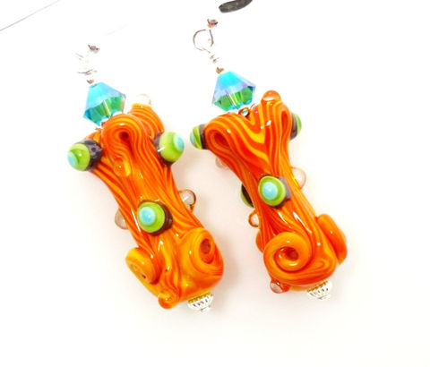 Orange,and,Turquoise,Free,Form,Lampwork,Glass,Earrings,Handmade Earrings, Handmade Jewelry, Handcrafted Jewelry, Handcrafted Lampwork Jewelry, Sterling Silver Earrings, Beadz and More, Beadwork Earrings, Glass Earrings, Glass Bead Earrings, Lampwork Earrings, Free Form Earrings, Orange and Turquoise Earrings