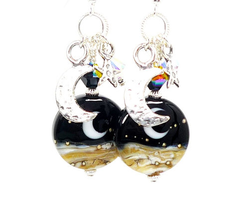 Celestial,Crescent,Moon,Lampwork,Dangle,Earrings,Handmade Earrings, Handmade Jewelry, Sterling Silver Earrings, Beadz and More, Beadwork Earrings, Glass Earrings, Glass Bead Earrings, Lampwork Earrings, Lampwork Jewelry, Moon Earrings, Celestial Earrings, Dangle Earrings, Black and White Earrings