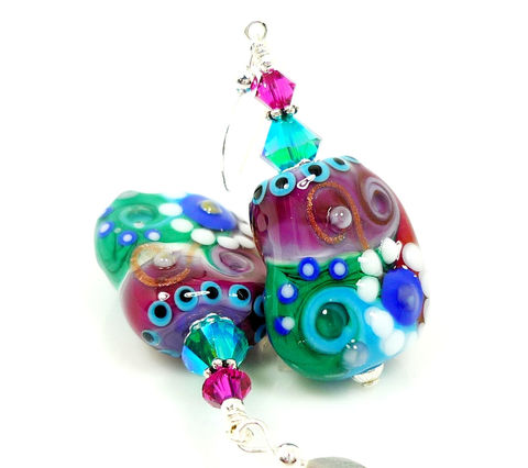 Colorful,Abstract,Free,Form,Lampwork,Glass,Earrings,Handmade Earrings, Handmade Jewelry, Handcrafted Earrings, Sterling Silver Earrings, Beadz and More, Beadwork Earrings, Glass Earrings, Glass Bead Earrings, Lampwork Earrings, Colorful Earrings, Abstract Earrings, Free Form Earrings