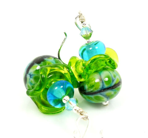 Turquoise,Blue,Chartreuse,Lime,Green,Lampwork,Glass,Beaded,Earrings,Handmade Earrings, Handmade Jewelry, Handcrafted Earrings, Sterling Silver Earrings, Beadz and More, Beadwork Earrings, Glass Earrings, Glass Bead Earrings, Teal Blue, Lime Green, Chartreuse, Teal and Lime Earrings