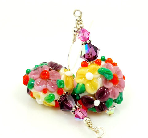 Colorful,Lampwork,Glass,Floral,Earrings,Handmade Earrings, Handmade Jewelry, Handcrafted Earrings, Sterling Silver Earrings, Beadz and More, Beadwork Earrings, Glass Earrings, Glass Bead Earrings, Colorful Earrings, Floral Earrings