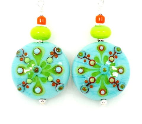 Turquoise,Blue,Southwestern,Lampwork,Glass,Earrings,Handmade Earrings, Handmade Jewelry, Handcrafted Earrings, Lampwork Earrings, Glass Earrings, Beaded Earrings, Turquoise And Lime, Glass Bead Earrings, Beadwork Earrings, Southwestern Earring, Southwest Jewelry