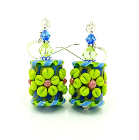 Blue,and,Chartreuse,Floral,Lampwork,Glass,Earrings,Handmade Earrings, Handmade Jewelry, Handcrafted Earrings, Lampwork Earrings, Colorful Earrings, Beadzandmore, Glass Earrings, Beaded Earrings, Glass Flower Earring, Blue And Green Earrings, Blue And Chartruese, Chartreuse Green, Beadwork Earrings