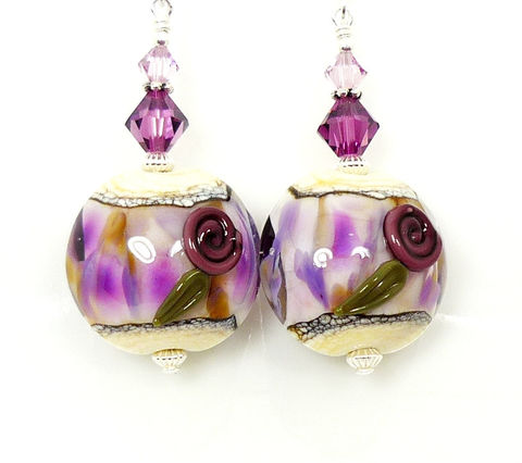 Purple,and,Ivory,Lampwork,Glass,Floral,Earrings,Handmade Earrings, Handmade Jewelry, Handcrafted Earrings, Lampwork Earrings, Glass Earrings, Glass Bead Earrings, Beadwork Earrings, Beaded Earrings, Floral Earrings, BeadandMore, Lampwork Jewelry, Purple Earring, Purple and Ivory