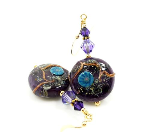 Purple,Lampwork,Gold,Filled,Earrings,Handmade Lampwork Earrings, Handmade Jewelry, Lampwork Earrings, Lampwork Jewelry, Lampwork Glass Earrings, 14k Gold Filled Earrings, Gold Filled Earrings, Purple Earrings, Lampwork Glass Bead Earrings