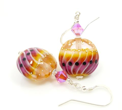 Pink,and,Yellow,Lampwork,Glass,Earrings,Handmade Earrings, Handmade Jewelry, Handcrafted Earrings, Colorful Earrings, Lampwork Earrings, Lampwork Jewelry, Glass Earrings, Pink Glass Earrings, Beadzandmore, Glass Bead Earrings, Beadwork Earrings, Pink And Yellow, Pink Earrings