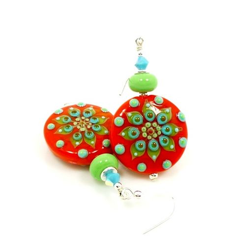 Orange,and,Turquoise,Lampwork,Glass,Southwestern,Earrings,Handmade Earrings, Handmade Jewelry, Handcrafted Earrings, Lampwork Earrings, Glass Earrings, Beadzandmore, Orange and Turquoise, Floral Earrings, Beadwork Earrings, Southwestern Earring, Southwest Jewelry, Beaded Earrings, Orange Earrings