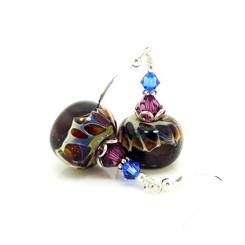 Purple,Blue,and,Brown,Spotted,Boro,Lampwork,Earrings,Handmade Lampwork Earrings, Lampwork Earrings, Lampwork Glass Earrings, Lampwork Glass Bead Earrings, Purple and Brown Earrings, Boro Glass Earrings