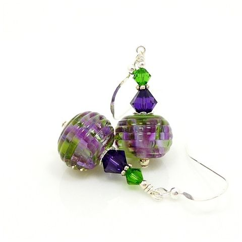 Purple,and,Green,Ribbed,Lampwork,Earrings,Handmade Earrings, Lampwork Earrings, Lampwork Glass Earrings, Lampwork Glass Bead Earrings, Colorful Earrings, Purple and Green Earrings, Purple Earrings