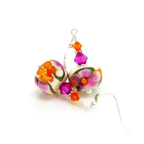 Orange,and,Pink,Floral,Cube,Lampwork,Earrings,Handmade Earrings, Lampwork Earrings, Lampwork Glass Earrings, Lampwork Glass Bead Earrings, Floral Earrings, Pink and Orange Earrings