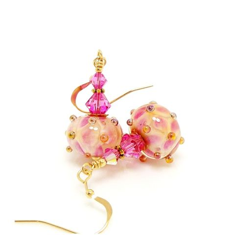 Pink,Peach,Gold,Filled,Lampwork,Earrings,Handmade, Handcrafted, Lampwork, Glass, Earrings, Jewelry, Pink, Gold Filled, Lampwork Earrings, Lampwork Glass Earrings, Handmade Lampwork Jewelry, Beadz and More, Handcrafted Bead Jewelry, Handmade Lampwork Earrings, Scroll Earrings