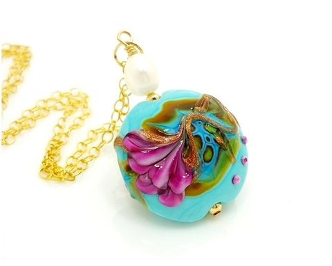 Turquoise,Floral,Lampwork,Gold,Necklace,Hnadmade Jewelry, Pearl Necklace, Gemstone Necklace, Gold Necklace, Pearl and Gemstone Necklace, Statement Necklace, Lampwork Necklace, Beadz and More, Pink and Turquoise, Pink Tourmaline, Blue Apatite, Gold Jewelry