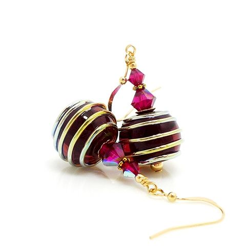 Raspberry,Pink,Gold,Filled,Lampwork,Earrings,Handmade Jewelry, Glass Earrings, Glass Jewelry, Glass Bead Earrings, Glass Beads Earrings, Lampwork Earrings, Gold Earrings, Gold Filled Earrings, Pink Earrings, Beadz and More