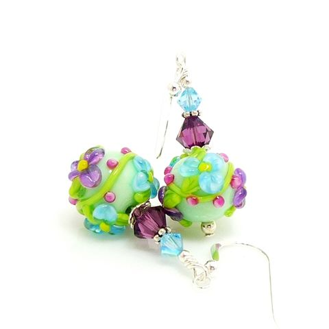 Mint,Green,and,Purple,Floral,Lampwork,Earrings,Handmade Jewelry, Handmade Earrings, Glass Earrings, Glass Jewelry, Lampwork Earrings, Glass Beads Jewelry, Glass Bead Jewelry, Sterling Earrings, Silver Earrings, Beadz and More
