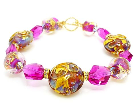 Fuchsia,Pink,and,Purple,Gold,Lampwork,Bracelet,Handmade Jewelry, Glass Jewelry, Gold Beaded Bracelet, Beadz and More, Glass Beads Bracelet, Glass Bracelet, Glass Beaded Bracelet, Lampwork Bracelet, Bead Bracelet, SRAJD